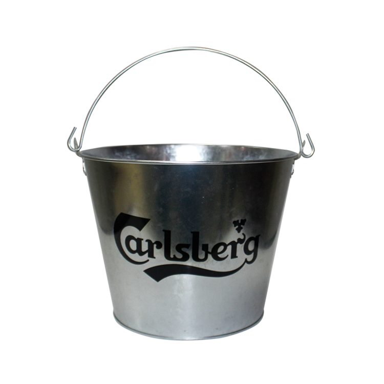 Custom Packaging Christmas Food Grade Round Metal Bucket Wholesale 5 Quarts Large Ice Metal Tin Buckets Pail With Metal Handle