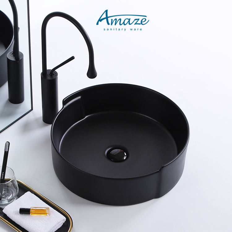 Chaozhou sanitary ware simple black colour round ceramic table top bathroom vessel sink art basin matt black hand wash basin