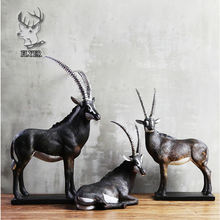 Resin crafts geometric deer figurine ornament for living room decor