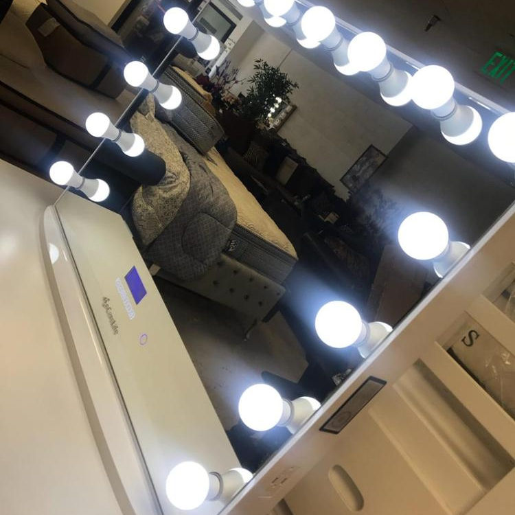 Docarelife Frameless Light Dimmable Desktop Mirror Hollywood Style Makeup Bluetooth Vanity Mirror with 15 LED Bulbs