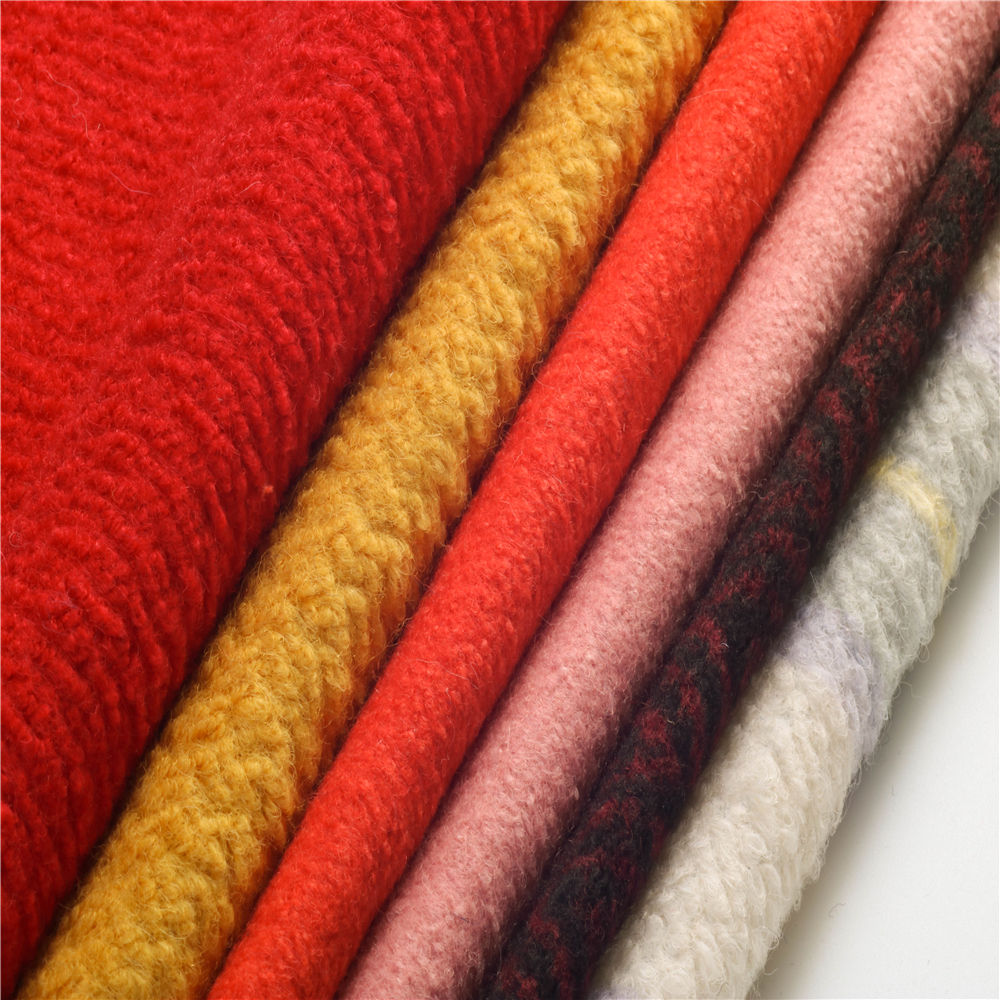 italian boucle wool woven weft knitting wool fabric for coats