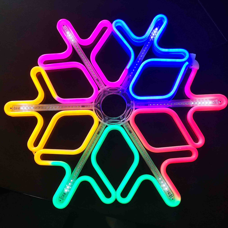 New Christmas decoration led neon snowflake motif light with meteor effect