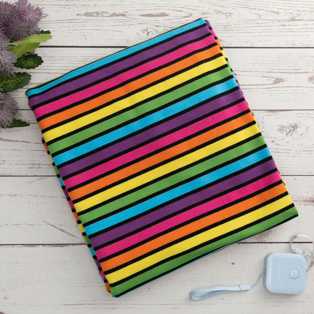 Wholesale knitted technics stretch rainbow cotton stripe fabric