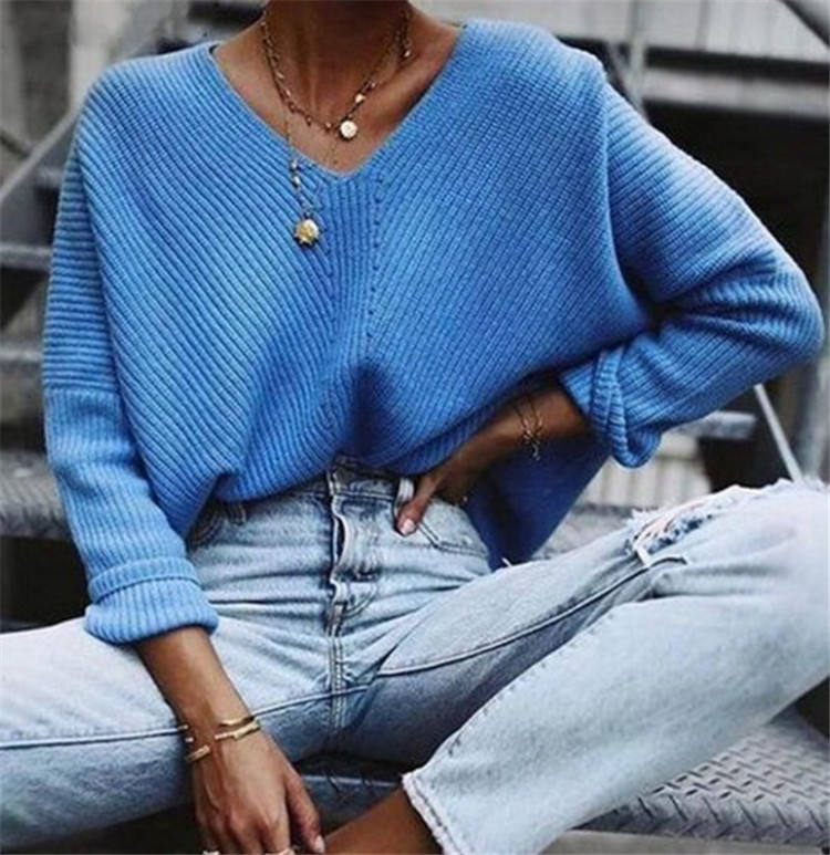Winter Blue Knitted Pullovers Women Long Sleeve V-neck Cashmere Sweaters Women Casual Korean Female Jumper