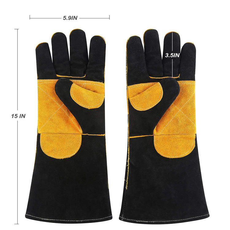 2019 Yellow Cowhide Welding Gloves High Temperature Wear-Resistant Work Labor Protection for Cutting