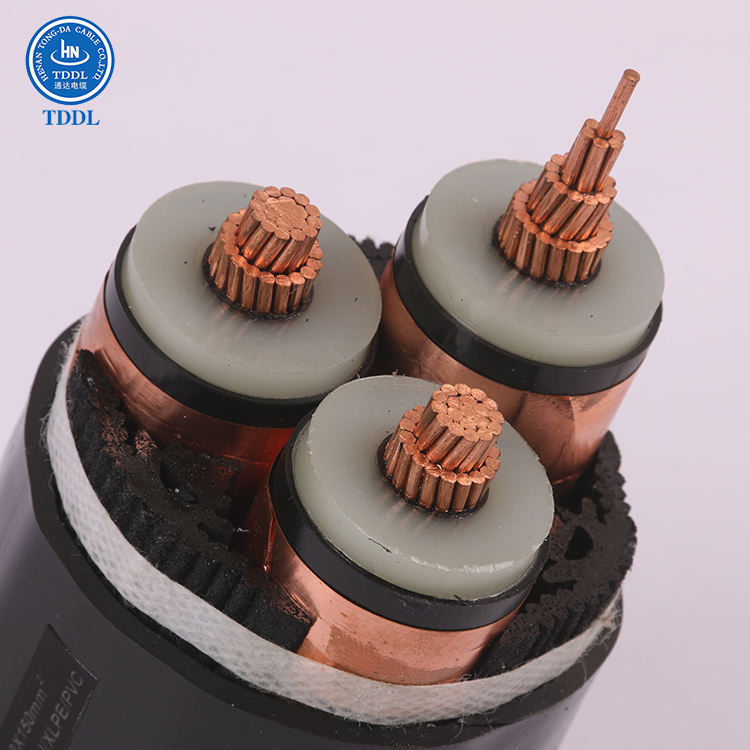 3*1.5mm2 copper conductor 3 core XLPE insulation screen PVC sheath Medium voltage power cable