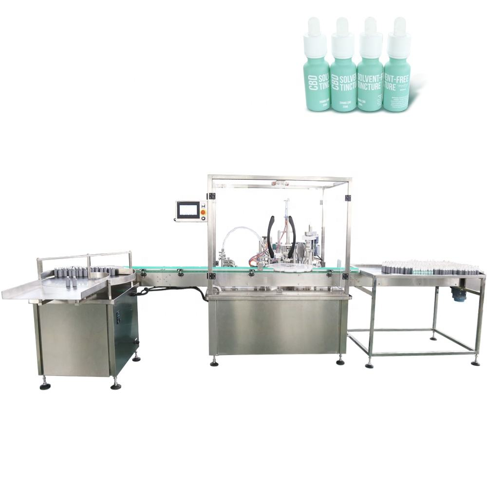automatic glass dropper bottle hemp tincture oil filling capping and labeling machine line in Shanghai factory