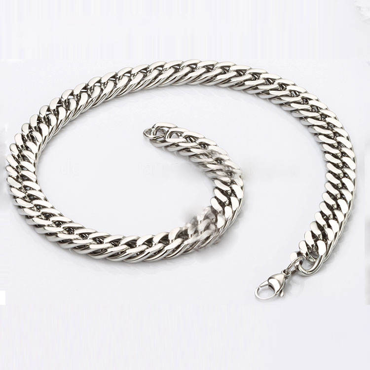 Fashion Metal Chain Stainless Steel Chain Double side Curb Chain Necklace Jewelry