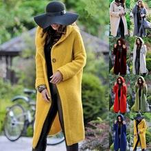 Guangzhou Autumn and Winter Women's Fashion Large Size Long Section of Female Coat Cardigan Knitted Hooded Sweaters