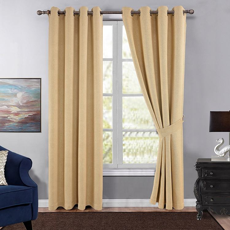 Beige Twined Twisted Linen Design Breathable Blackout Fabric Curtains For The Living Room