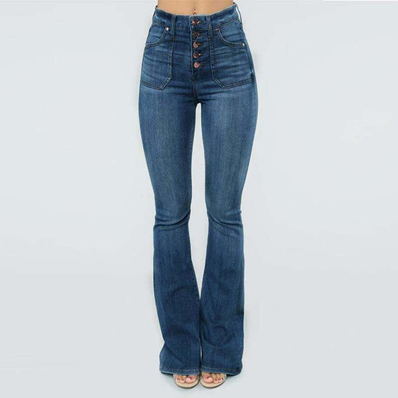 Accept ODM/OEM women jeans flared pants with quality assurance