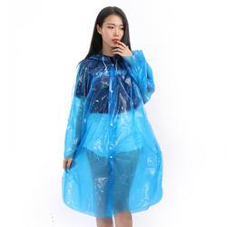 A67 custom logo emergency pocket PE disposable adult waterproof rain poncho raincoat with plastic sleeves and drawstring hoods