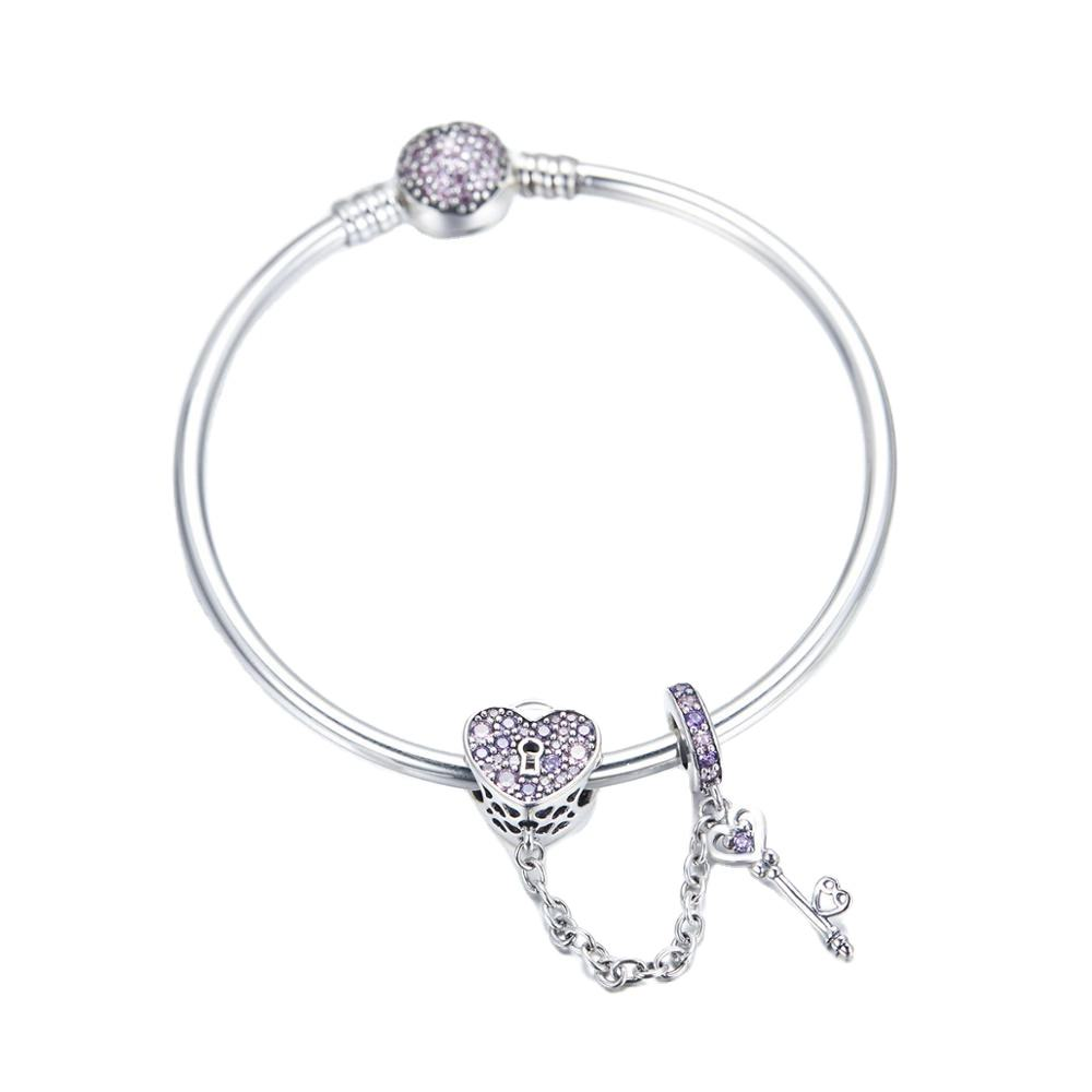 Wholesale Price 925 Sterling Silver Bangle Charms Clear CZ Beads Silver Jewelry Bracelet