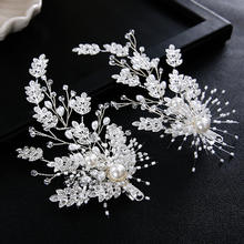 bridal handmade rhinestone crystal wedding hair accessory pearl beaded leaf dress accessories decoration