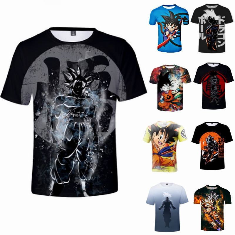 T Shirts Custom Afdrukken T-shirts Dragon Ball Z Super Saiyan Son Goku Anime Zomer 3D Afdrukken Cartoon Mode T-shirt