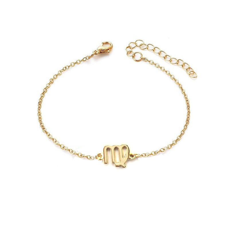 New Arrival European Gold Silver Chain 12 Zodiac Sign Circle Bracelet Adjustable Chain Zodiac Sign Charm Bracelet for Women