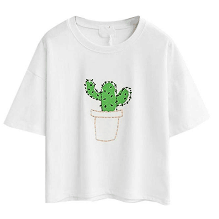 Simple style short cactus embroidery short sleeves exposed umbilical cord cotton women's t shirt