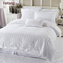 Taitang Hotel Bed Linen Bedsheet Luxury White Bedding Set Queen King 100% Cotton Bed Sheet Set