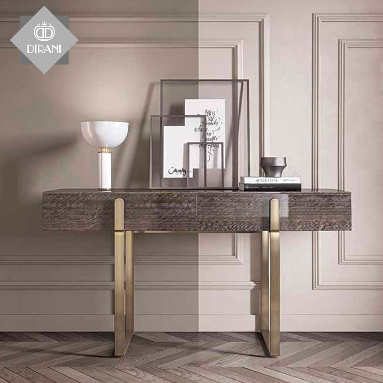 nordic Luxury foyer Hallway Corner stainless steel Frame sidetable GRAND Wooden modern console Table With 2 Drawer