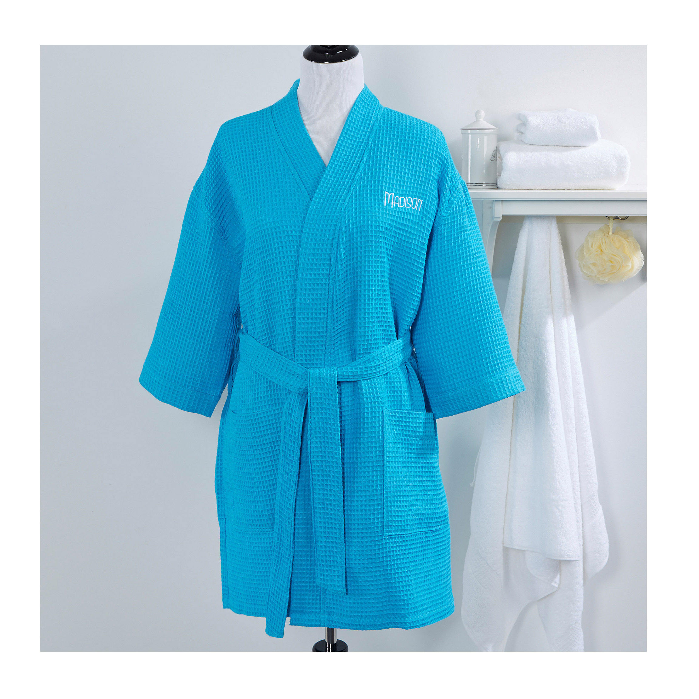 Private label unisex luxury bath and body works bath robe men's waffle short robe