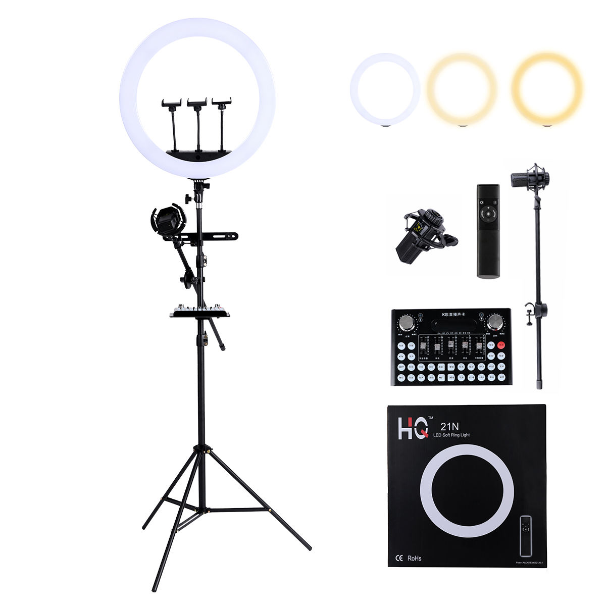 Eu USA Customized tik tok Makeup professional dimmable 8inch led ring light kit for video with mic stand