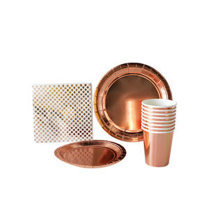 Rose Gold Foil Solid color Paper Party Set Party Tableware