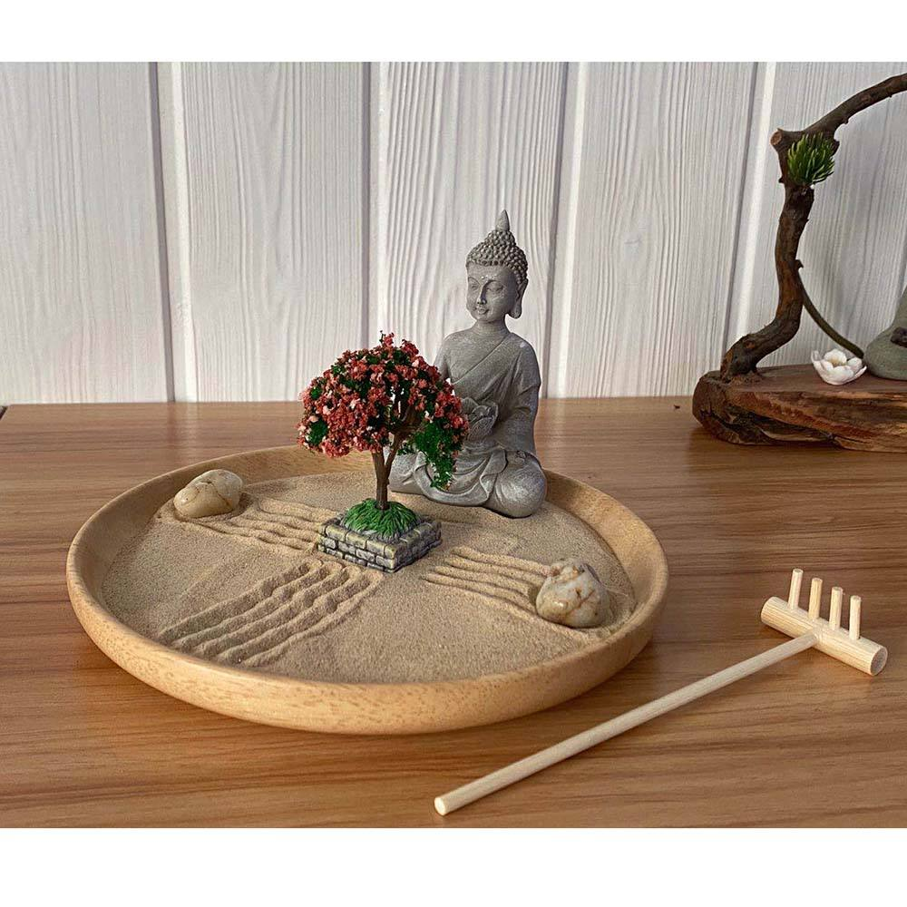 Asian Home Sitting Buddha With Bonsai Meditation Miniature Zen Garden