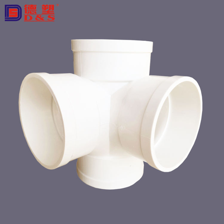 Plumbing Manufacturer 4 Way PVC Drainage Pipe Connector 88 Degree Cross