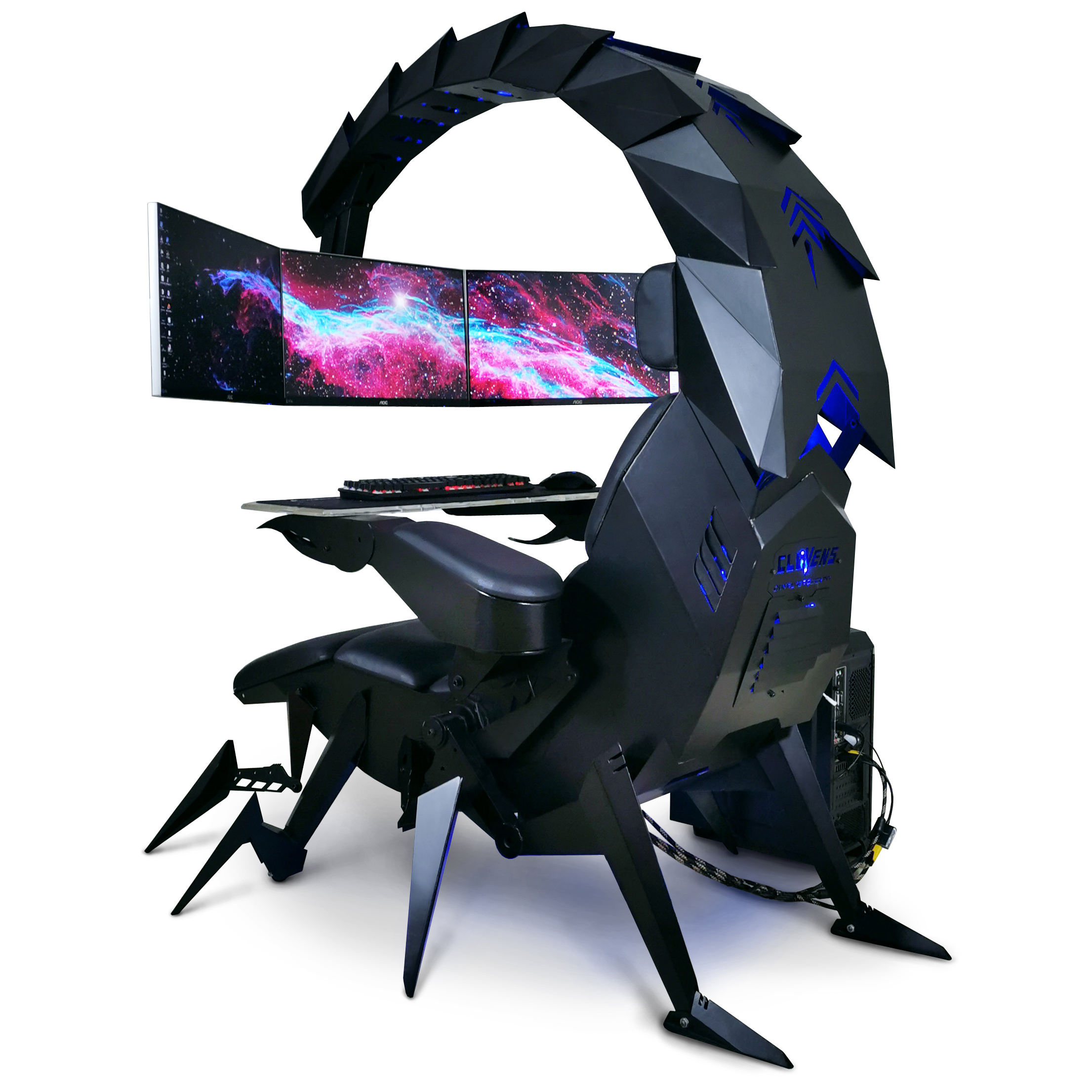 Hot selling zero gravity Tilting PC gaming office cockpit fully automatic recline for 3-5 monitors IW-SK scorpion chair