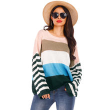 2020 Latest ladies design wholesale stripe knitted Long Sleeve Shirt women sweater
