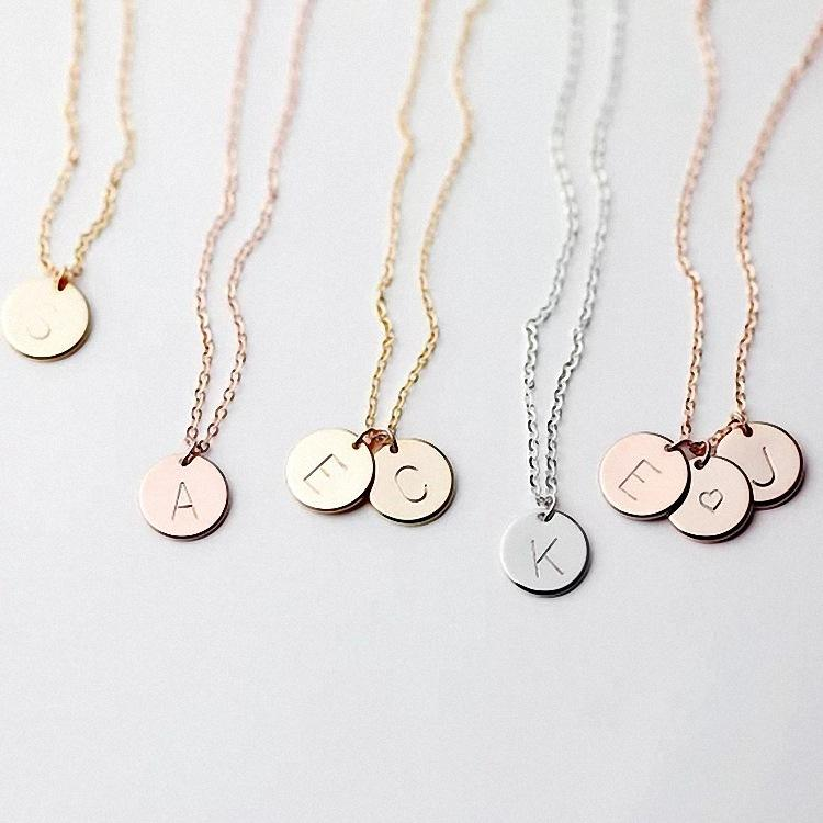 18K Gold GP Personalised Initial Alphabet Letter Disc Charm Necklace Initial Personalised Letter Disc Necklace