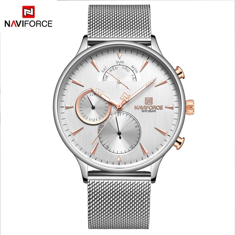 NAVIFORCE NF3010 Quartz Charm Watch For Men Thin Nice Stainless Steel Mesh Best Watches Japan Battery For Watch