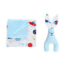 Warm comfortable minky dot 100% polyester winter custom print sleeping baby blanket with toy