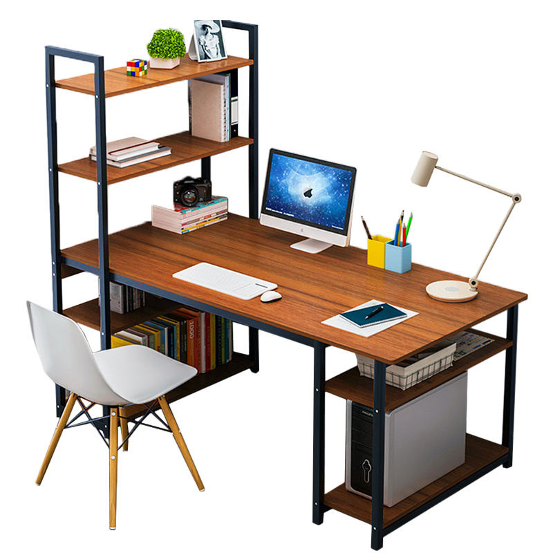Steel wood integrated desktop computer desk for student with bookshelf