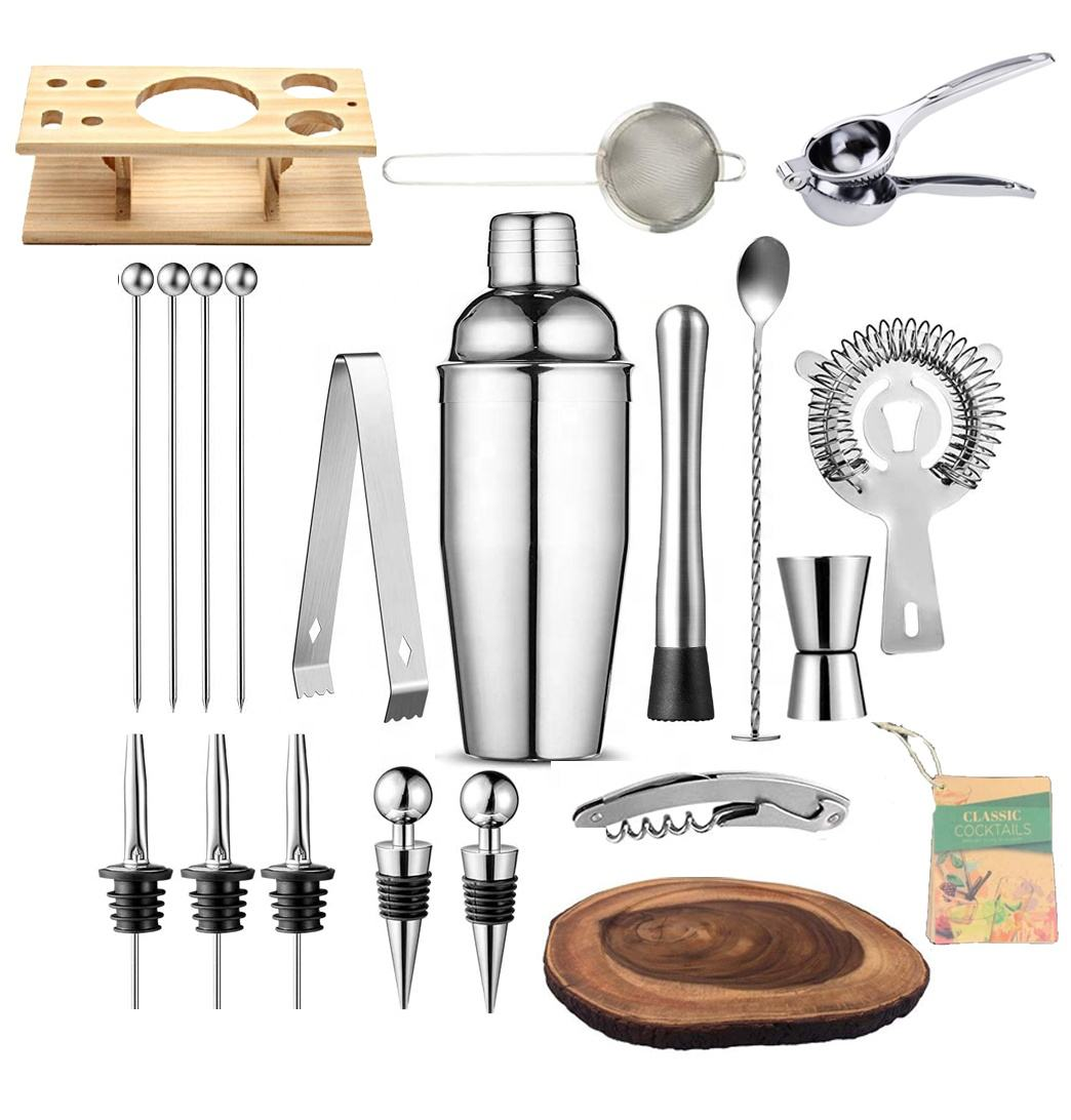 Amazon 21 Pieces Shakers Cocktail Leak Proof Bar Tools Set Professional Stainless Steel Martini Shaker Set wtih Bamboo Stand