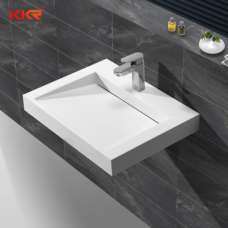 Acrylic Solid Surface Washbasins Resin Stone Bathroom Wall Hung Basins