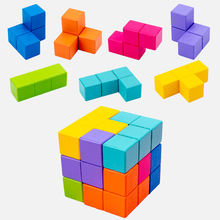 Hot Sale  New 2020 Style DIY Educational Intelligent Child Wooden Building Blocks Solid Wood Cube for Children