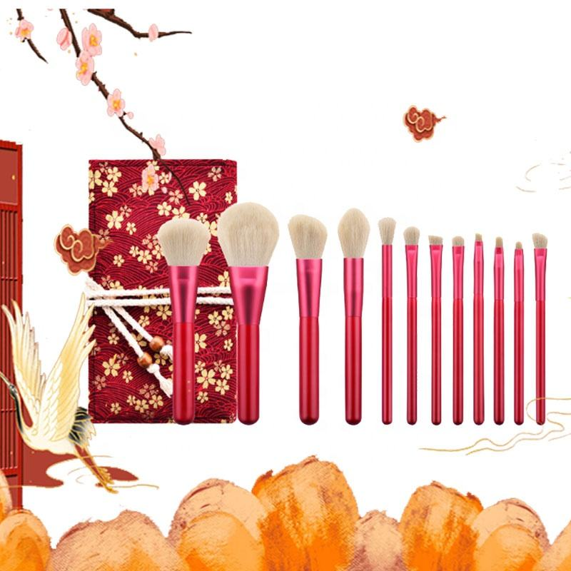 High Quality Christmas Red Wooden Handle 12 PCS Set Eyeshadow Brush、Foundation Brush Makeup Brushes