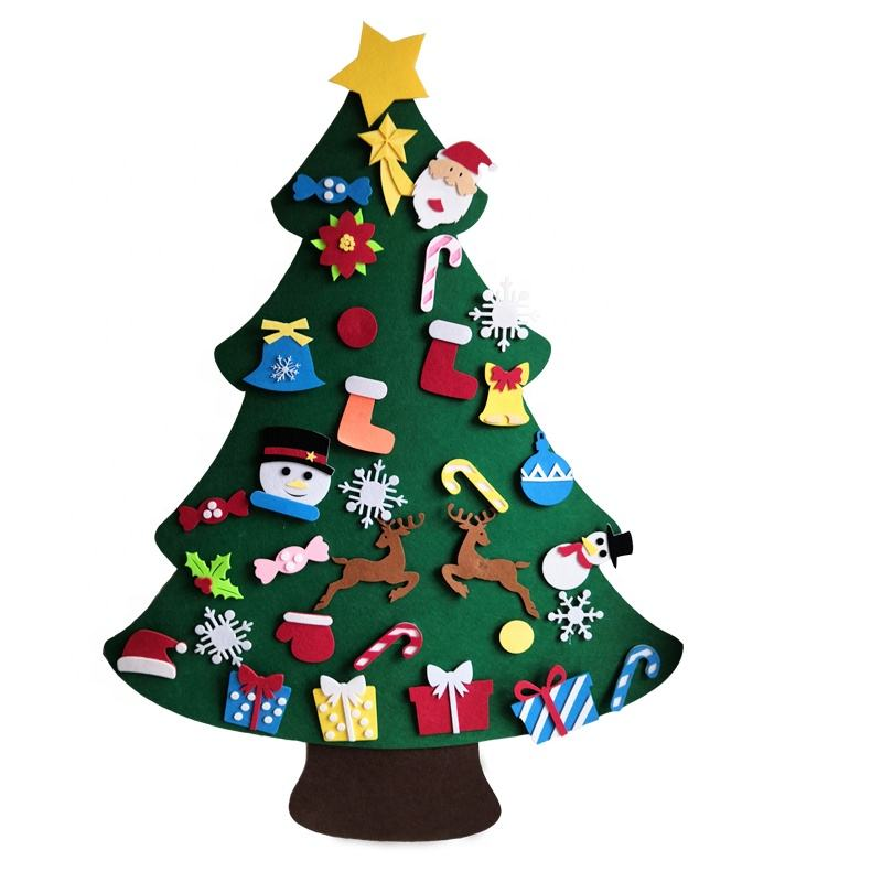 wholesale felt hanging wall christmas tree with 33 ornaments for kids Children Xmas Gifts