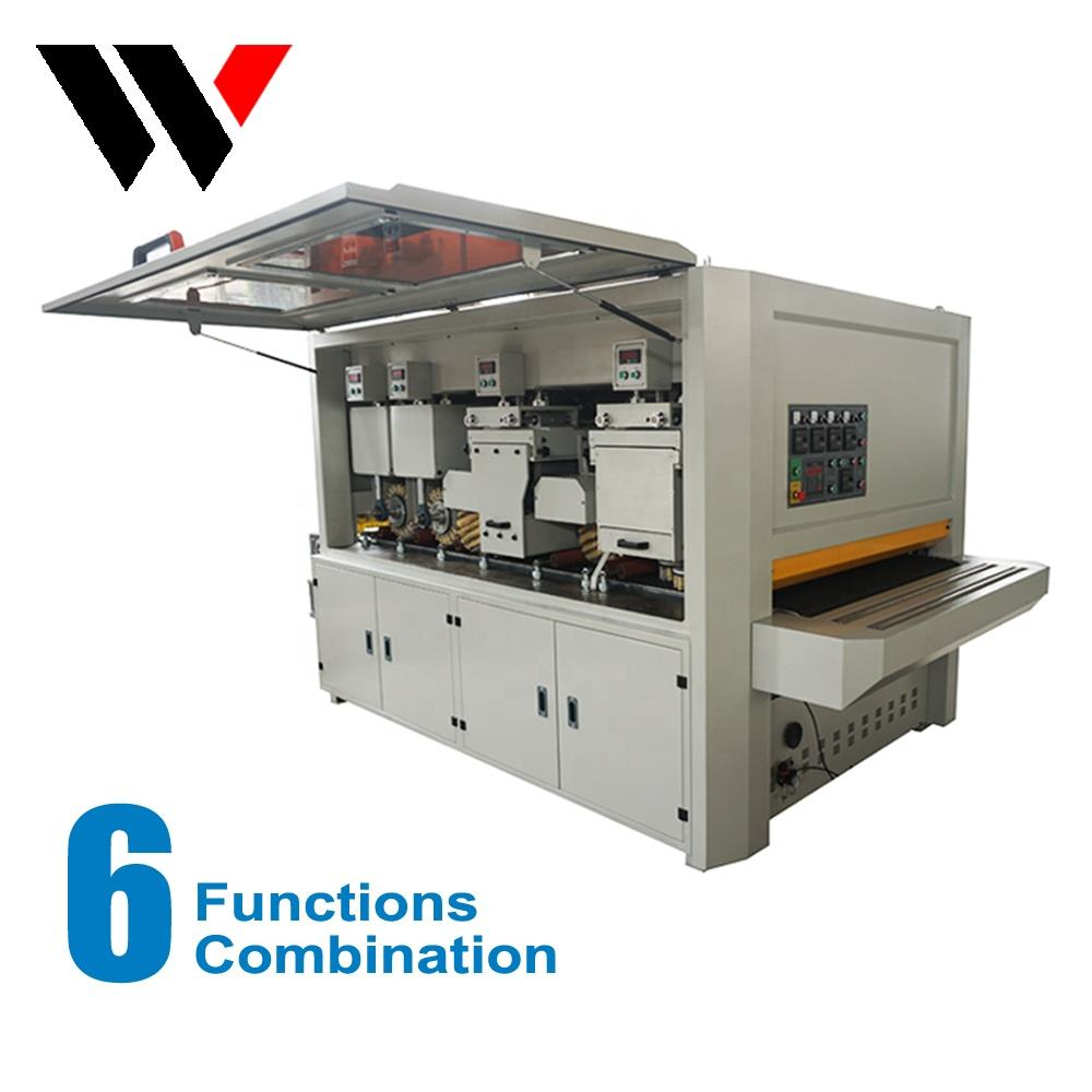 Automatic combination door cabinet wood disc brush polish sanding sander machine