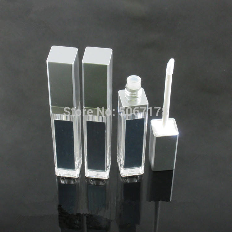 acrylic empty makeup diy lip gloss bottle black/silver square lip gloss tube with led light mirror labial glair bottle