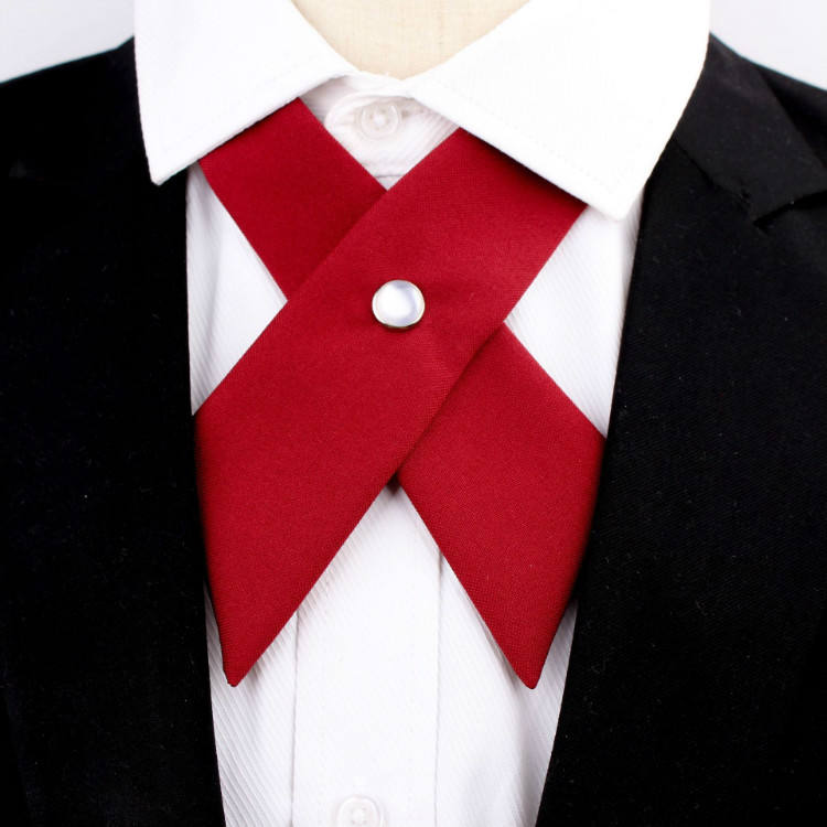 College students jk uniform cross bow tie collar necktie school host uniform solid color bow tie for sale