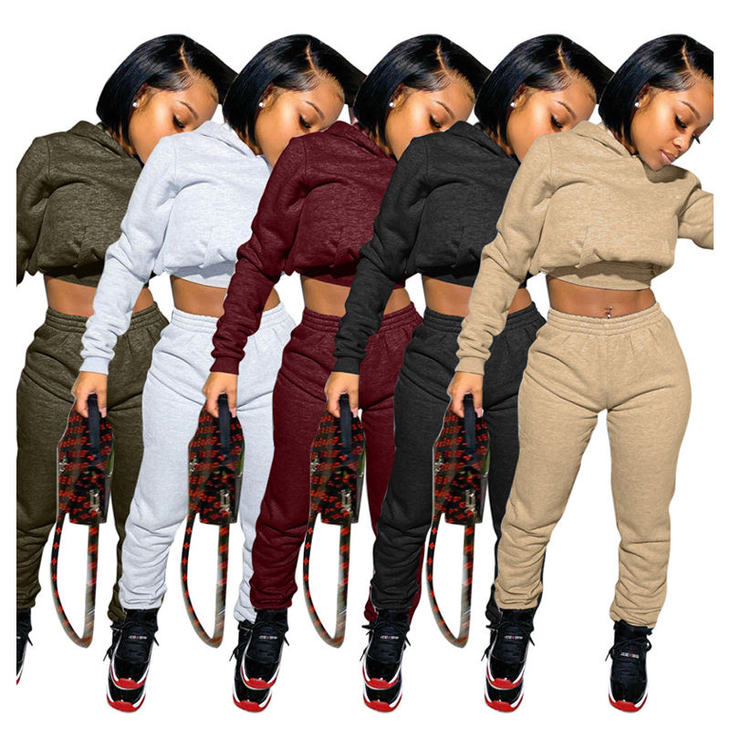 New Fall Winter Casual Two Peice Cotton Stacked Pants Set Tall Women Pants Crop Top Short Set Clothing With Hooded