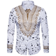New Men's African Ethnic Style Printed Long-sleeved Dashiki Casual Flannel Large Size Shirt