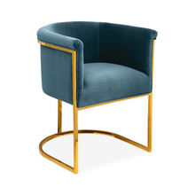 New design 2019 dining room leisure furniture gold metallic base blue velvet hotel lounge leisure sofa arm tub dining chair