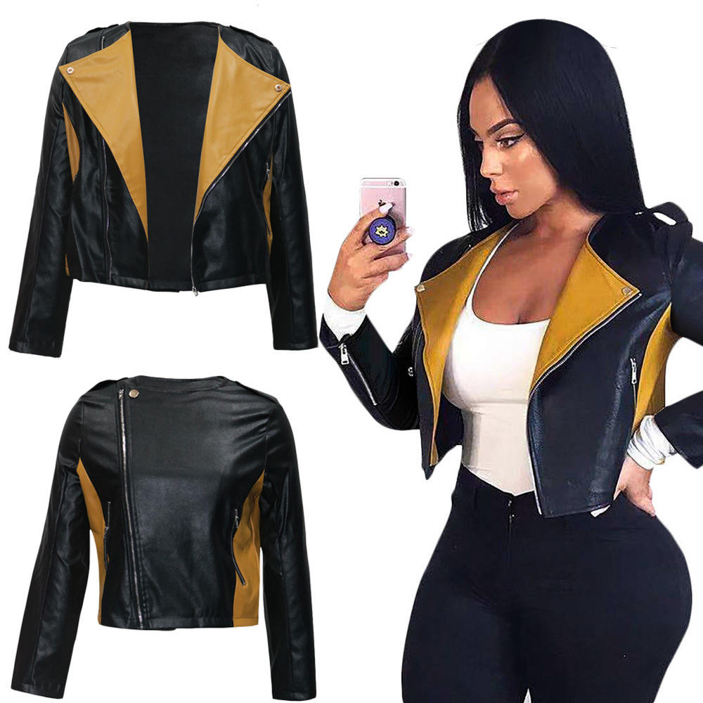 2020 New Turn Down Collar Splicing Zipper Pu Leather Jacket Fall Clothing For Women