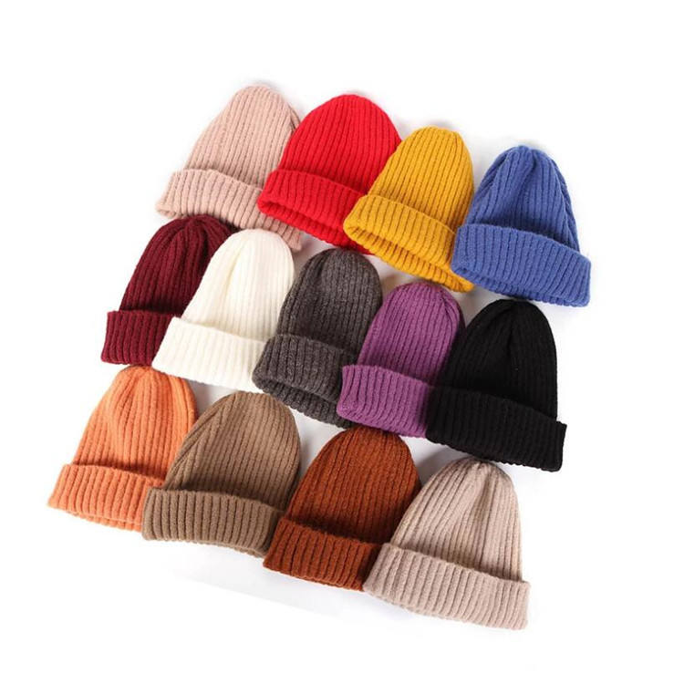 Wholesale Fashion Thick Winter Ladies Hat Custom Beanie Mat Knitted Tam Pom Pom Hats Women