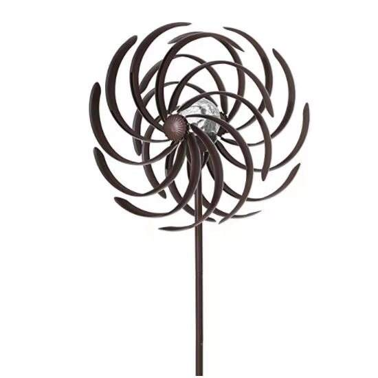 Wind Spinner Garden Stake Double Spiral Wind Spinner for Garden Patios