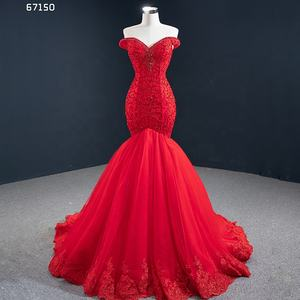 Jancember RSM67150 2020 new arrivals dresses red mermaid ruffle women lady elegant evening dress