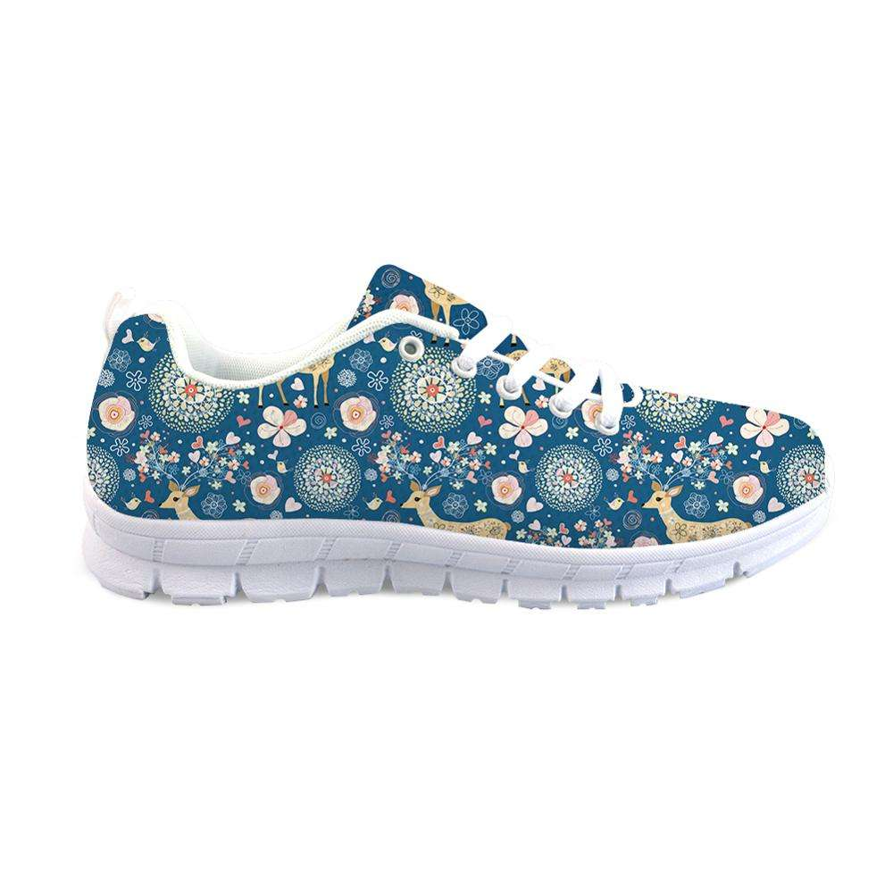 THIKIN Cute Sika Deer Pattern Custom Design Pattern Flat Shoes Breathable Air Mesh Sports Shoes Running Shoes Walking Sneaker